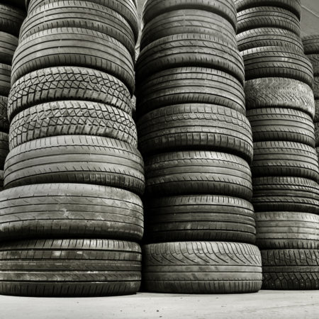 Stack of used car tires